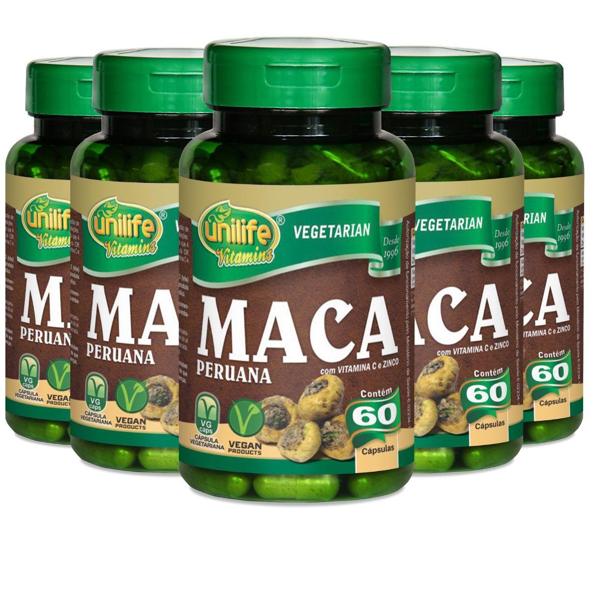 Kit 5 Maca Peruana C/ Vitaminas 550mg 60 Cápsulas - Unilife