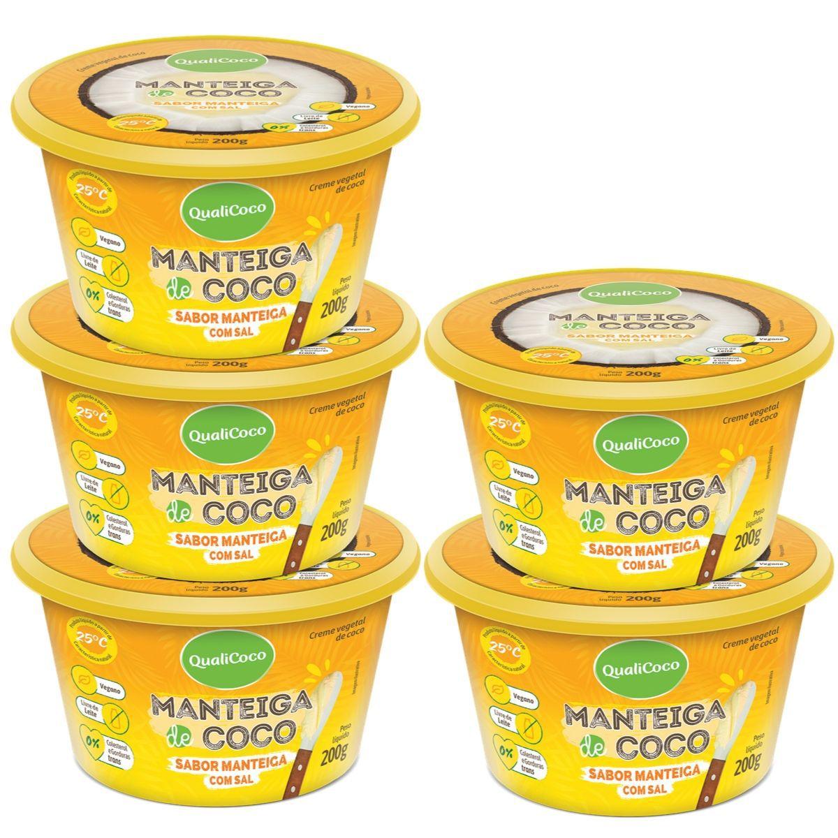 Kit 5 Manteigas De Coco C/ Sal Sabor Manteiga 200g - QualiCôco