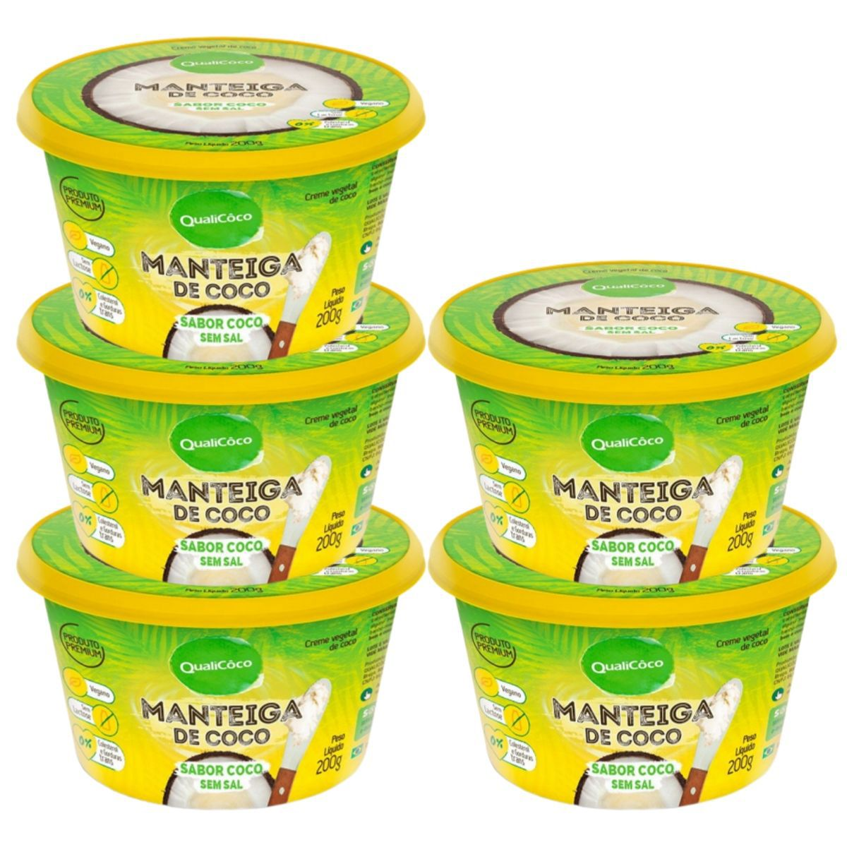 Kit 5 Manteigas De Coco Sem Sal Sabor Coco 200g - QualiCôco