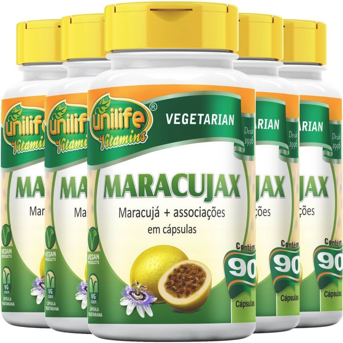 Kit 5 Maracujax Unilife - 90 Cápsulas 500mg