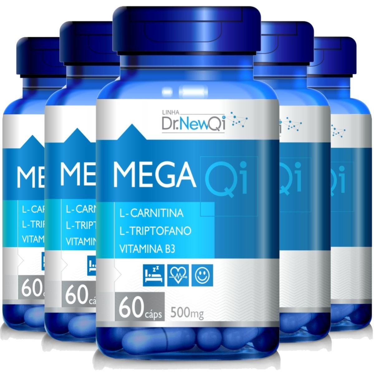 Kit 5 Mega QI L-Triptofano + L-Carnitina + Vit. B3 500mg 60 Cápsulas - Upnutri