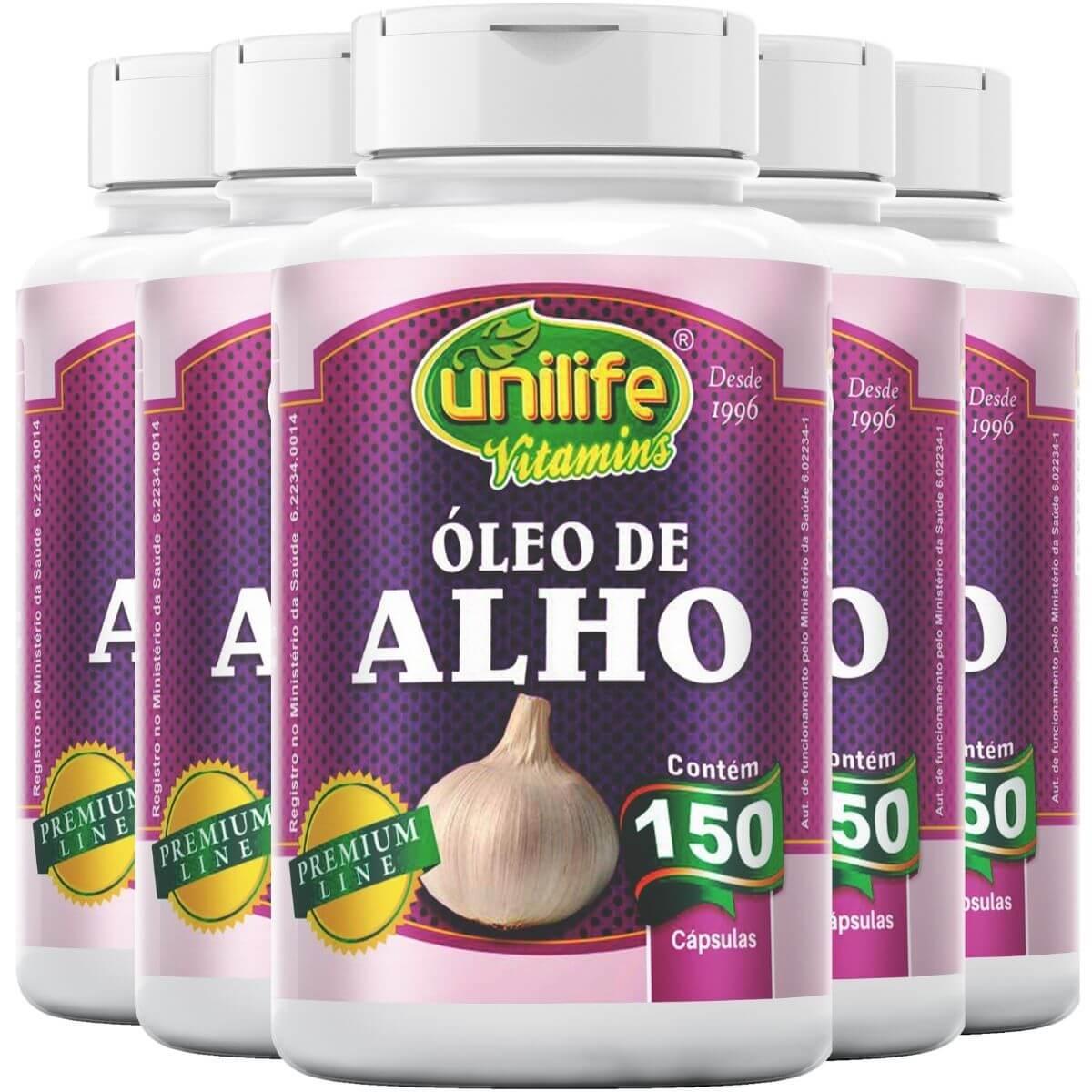 Kit 5 Óleo de Alho 150 Cápsulas 350mg - Unilife
