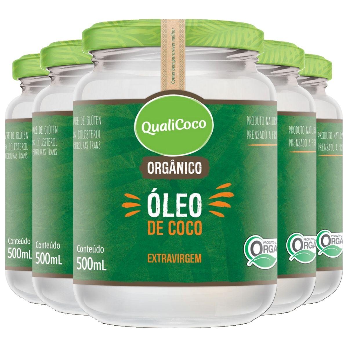 Kit 5 Óleo de Coco Orgânico Extra Virgem 500ml - QualiCoco