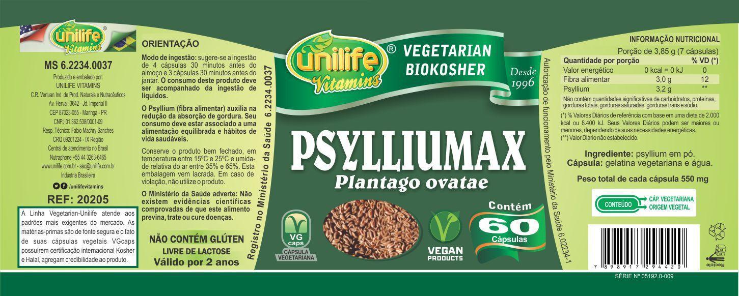 Kit 5 Psylliumax - Psyllium 550mg 60 Cápsulas - Unilife