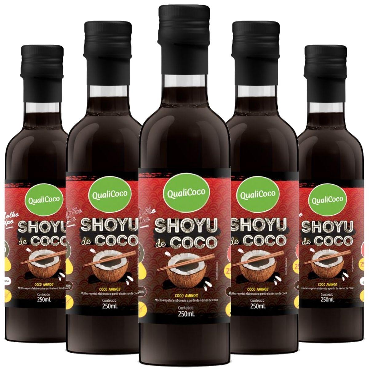 Kit 5 Shoyu de Coco Aminos 100% Natural 250ml - QualiCoco