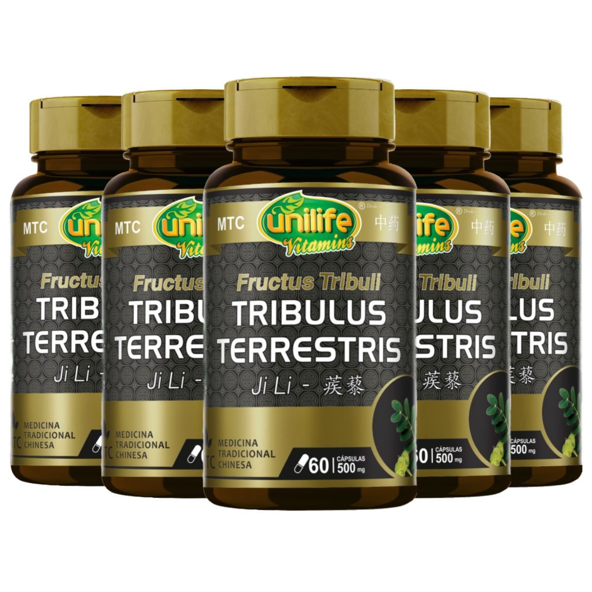Kit 5 Tribulus Terrestris MTC 500mg 60 Cápsulas - Unilife