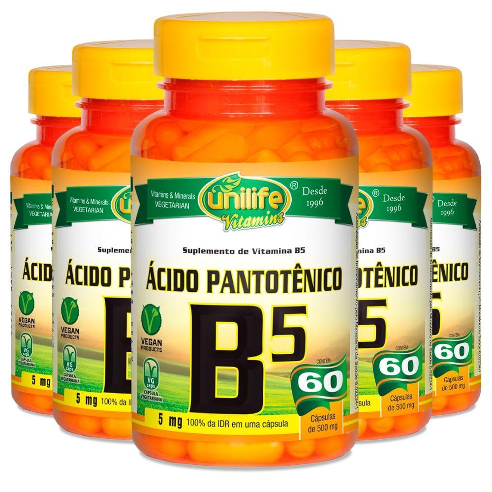 Kit 5 Vitamina B5 Ácido Pantotênico - Unilife 60 Cáps
