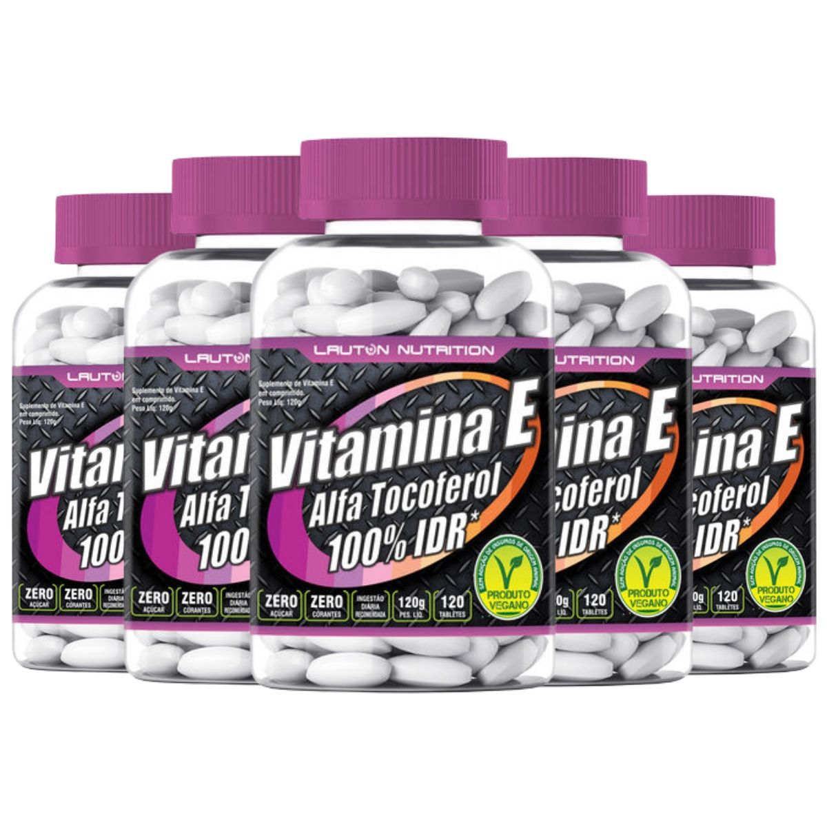 Kit 5 Vitamina E Alfa Tocoferol 100% IDR 1000mg 120 Tabs - Lauton Nutrition