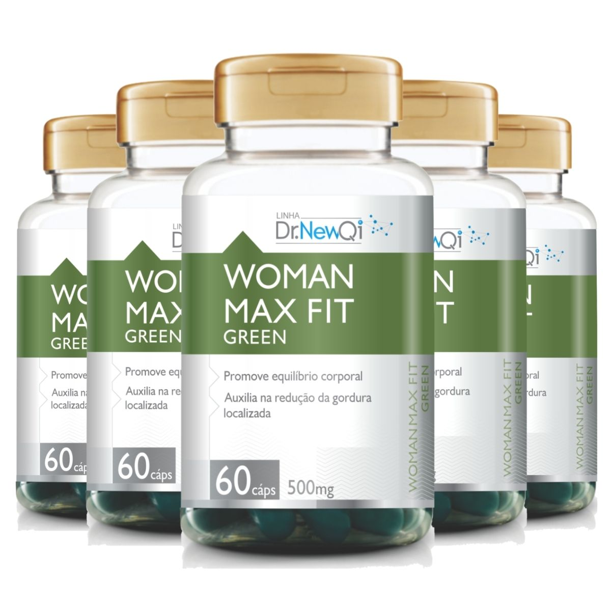 Kit 5 Woman Max Fit Green 60 Cápsulas 500mg Dr. New QI - UpNutri