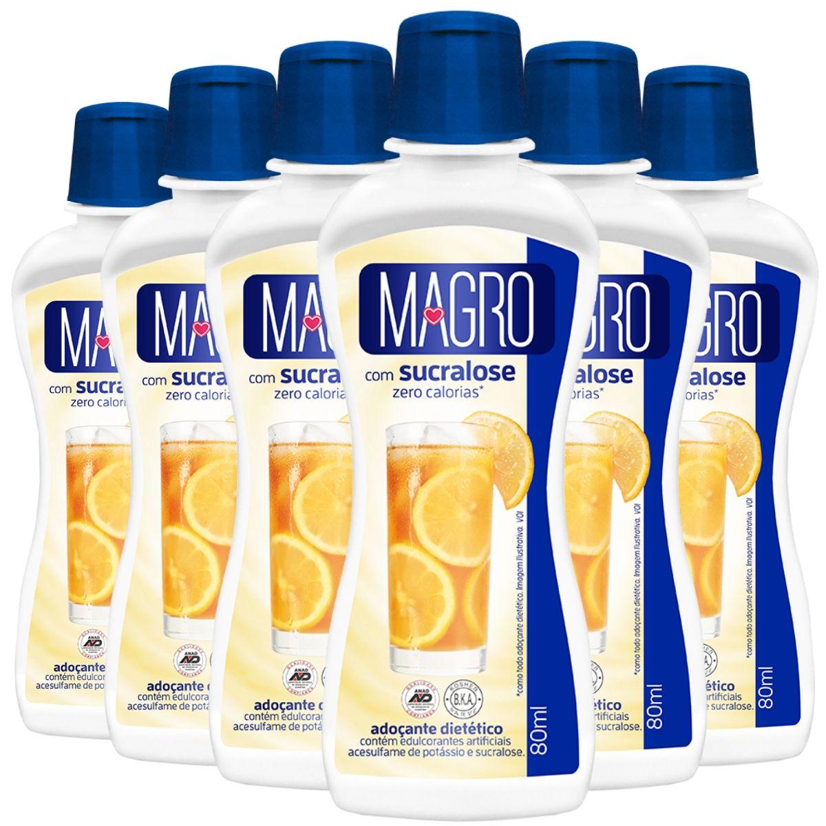 Kit 6 Adoçante Magro C/ Sucralose Liq 80ml - Zero Calorias