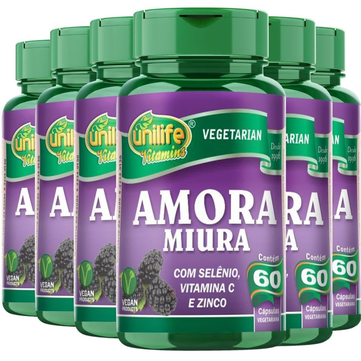 Kit 6 Amora Miura Vitaminas e Mineral - 500mg 60 Capsulas - Unilife