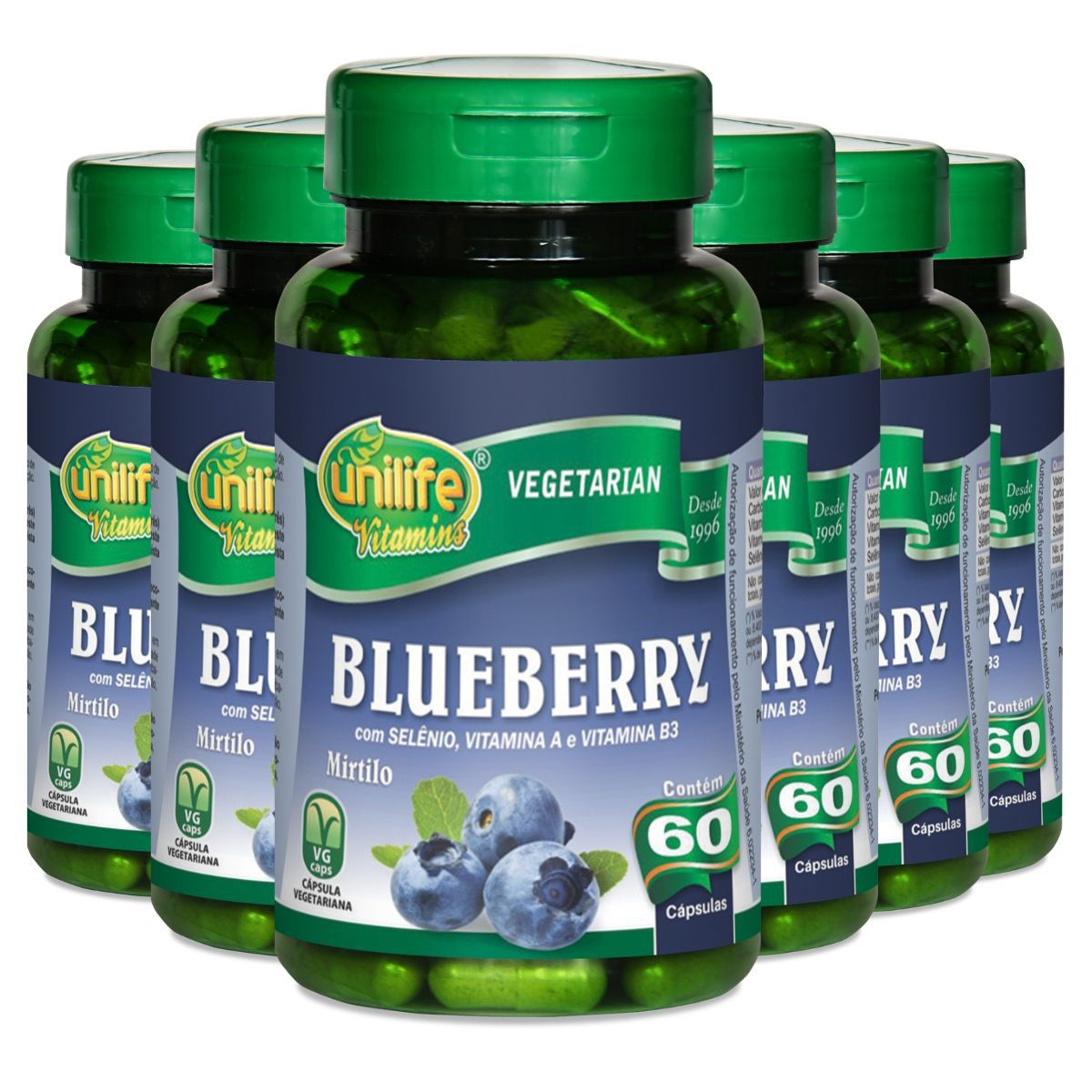 Kit 6 Blueberry Mirtilo Antioxidante Unilife - 550 Mg 60 Cápsulas