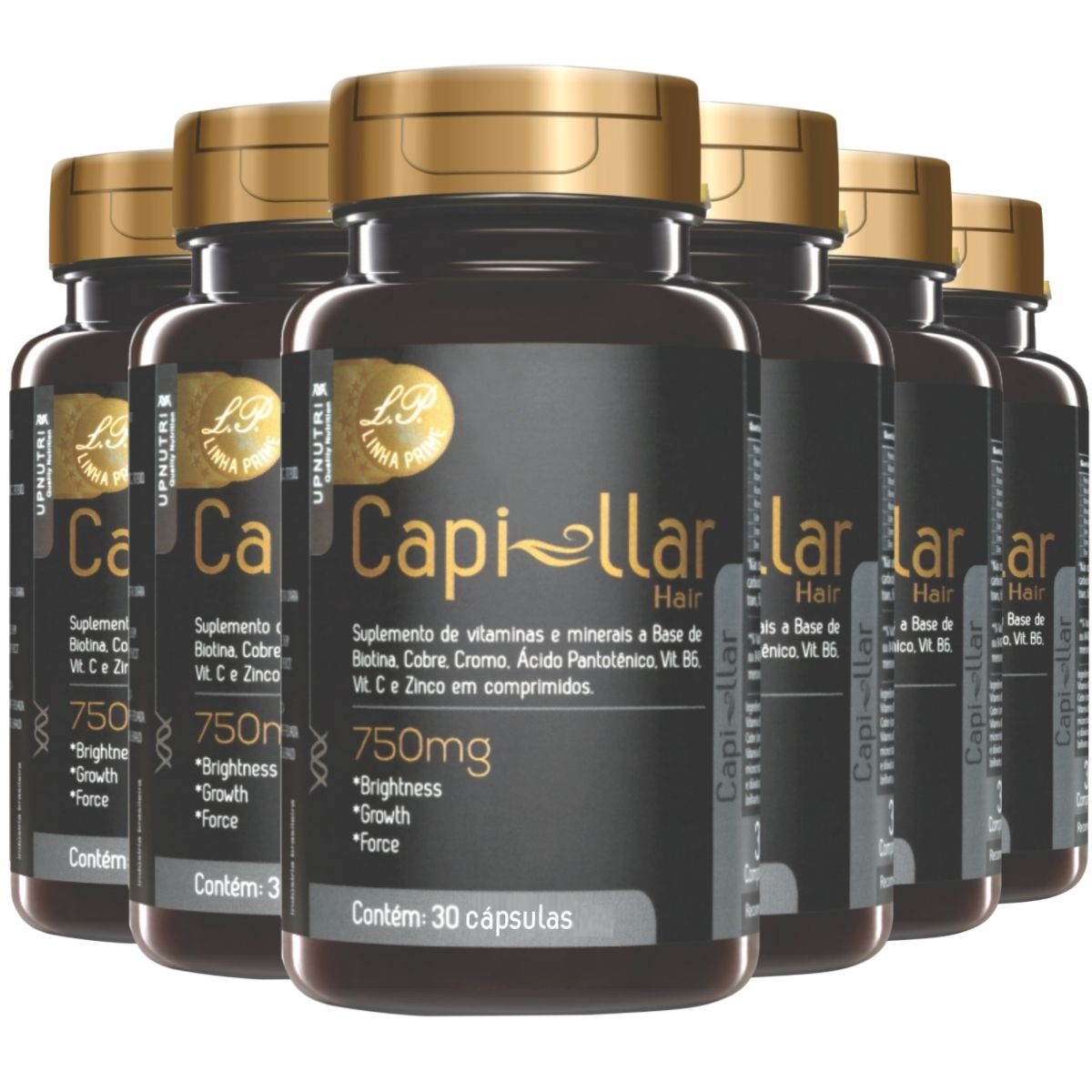 Kit 6 Capillar Hair Prime 30 Cápsulas 500mg Upnutri - Crescimento Capilar