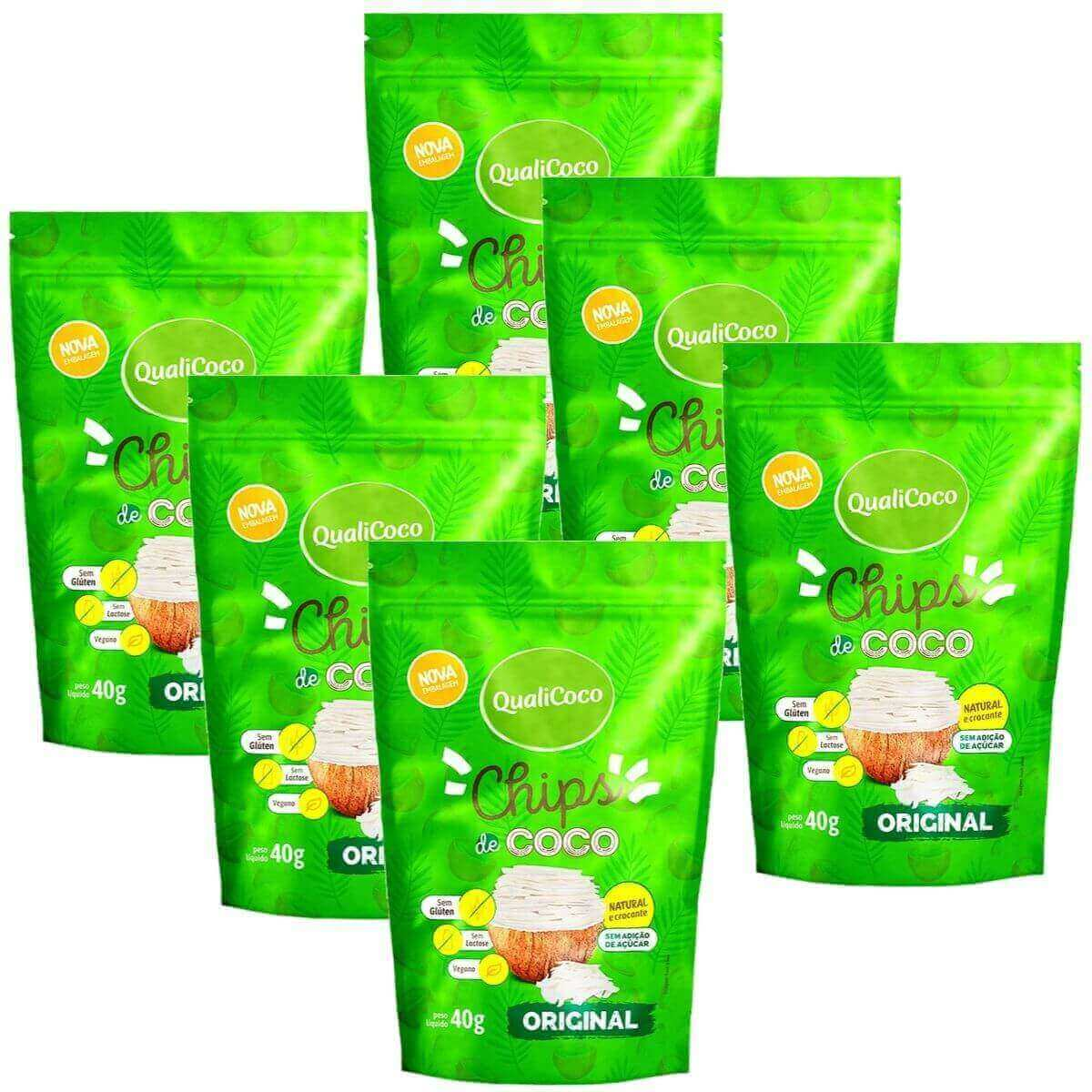 Kit 6 Chips De Coco Original Snack Crocante - QualiCôco