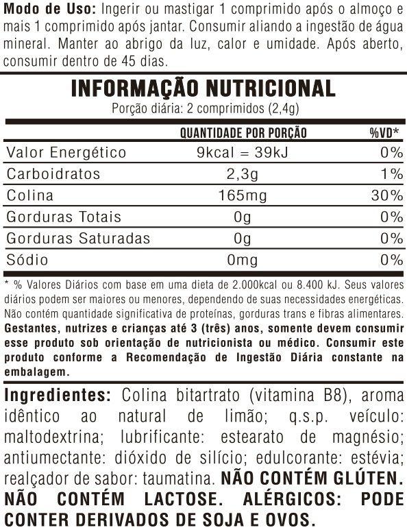 Kit 6 Colina Bitartrato (VItamina B8) Sabor: Limão - 60 Comprimidos 1,2g