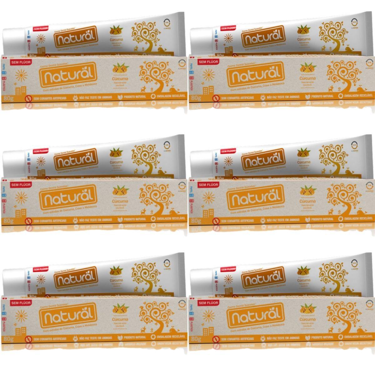 Kit 6 Creme Dental Suavetex Natural C/ Extratos de Curcuma, Cravo e Melaleuca 80g