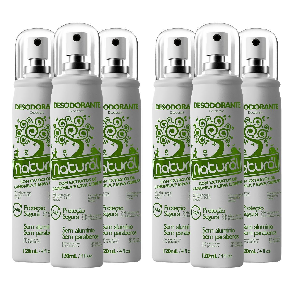 Kit 6 Desodorantes Spray Suavetex Orgânico Natural Camomila e Erva Cidreira 120ml  - Suavetex