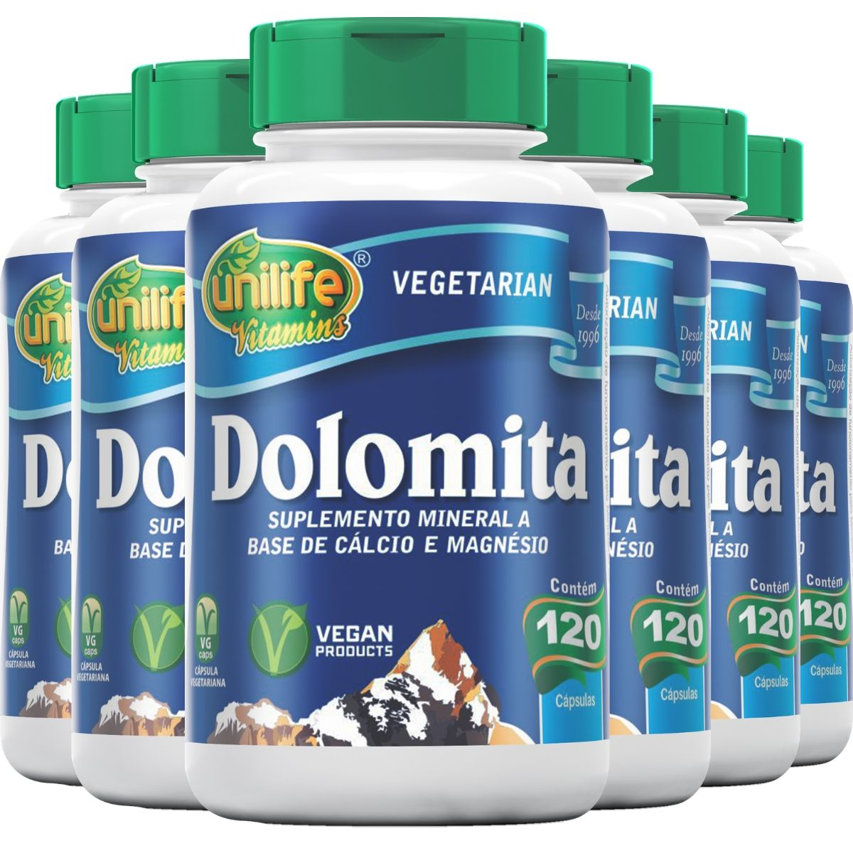 Kit 6 Dolomita - Cálcio e Magnésio Unilife 120 Cáps 950mg