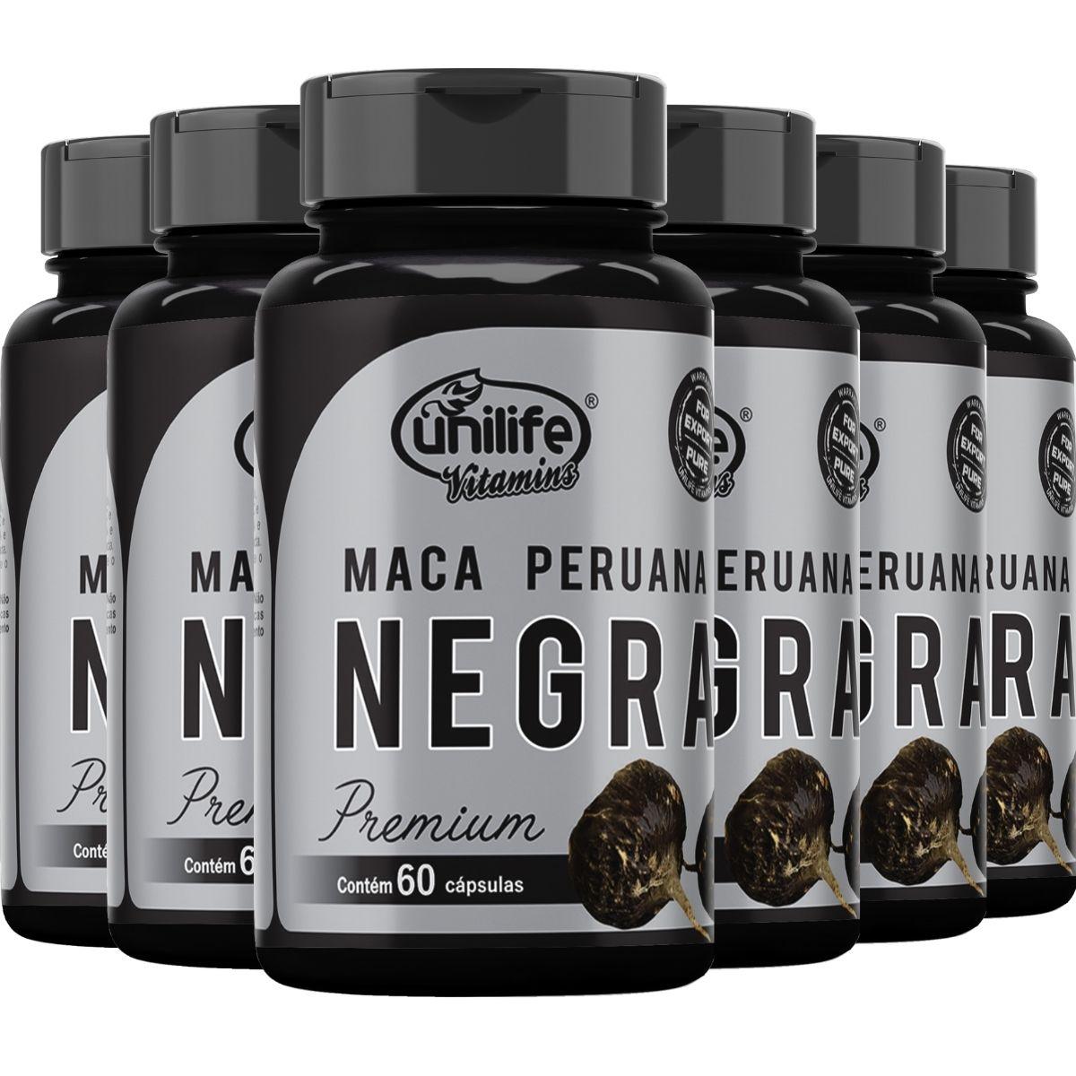 Kit 6 Maca Peruana Negra Premium Pura 450mg 60 Cápsulas - Unilife