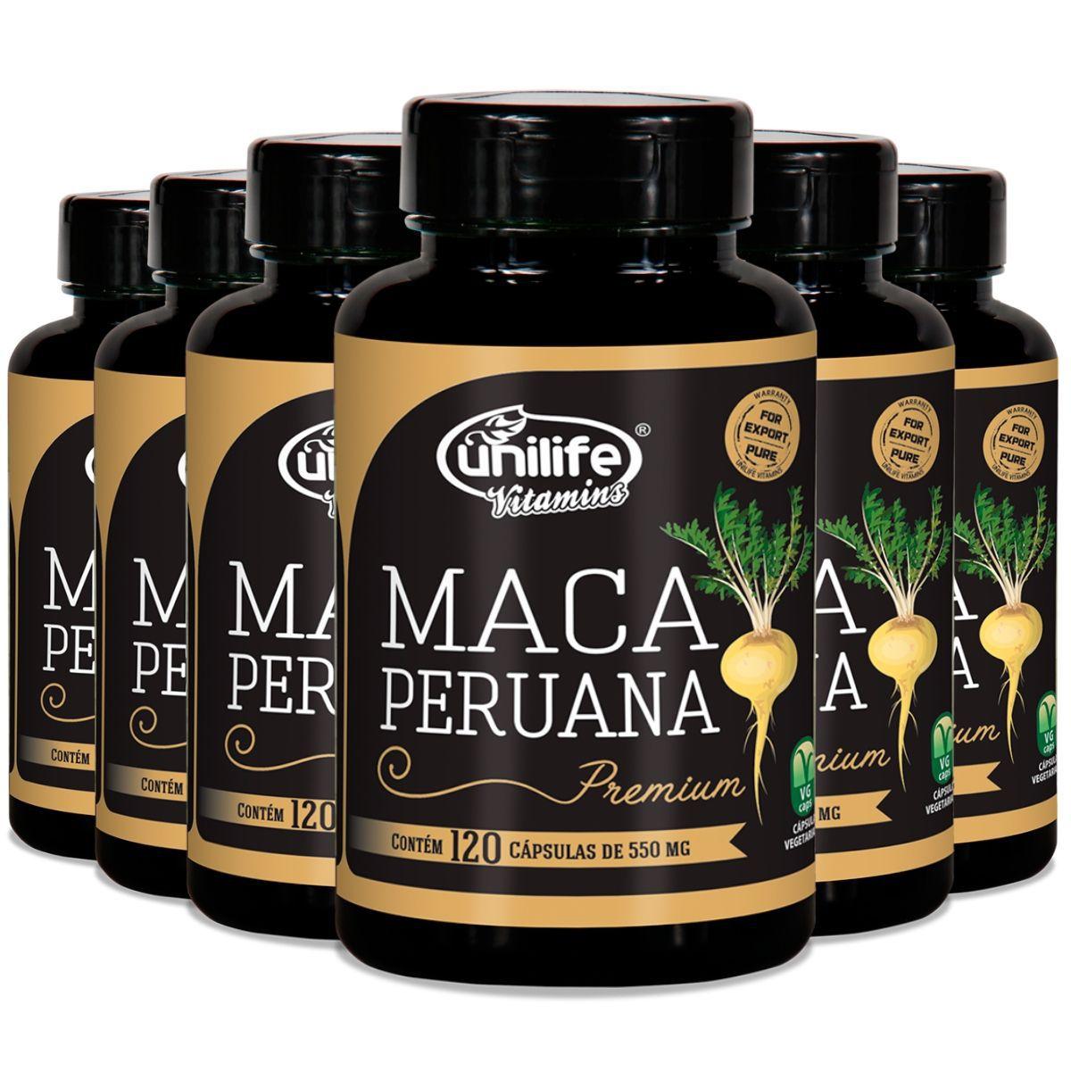 Kit 6 Maca Peruana Premium Pura Unilife - 720 Cápsulas