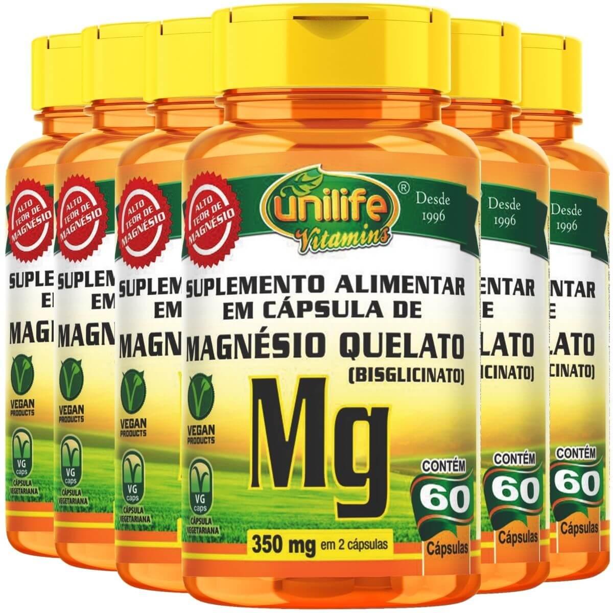 Kit 6 Magnésio Quelato 700mg 60 Cápsulas - Unilife