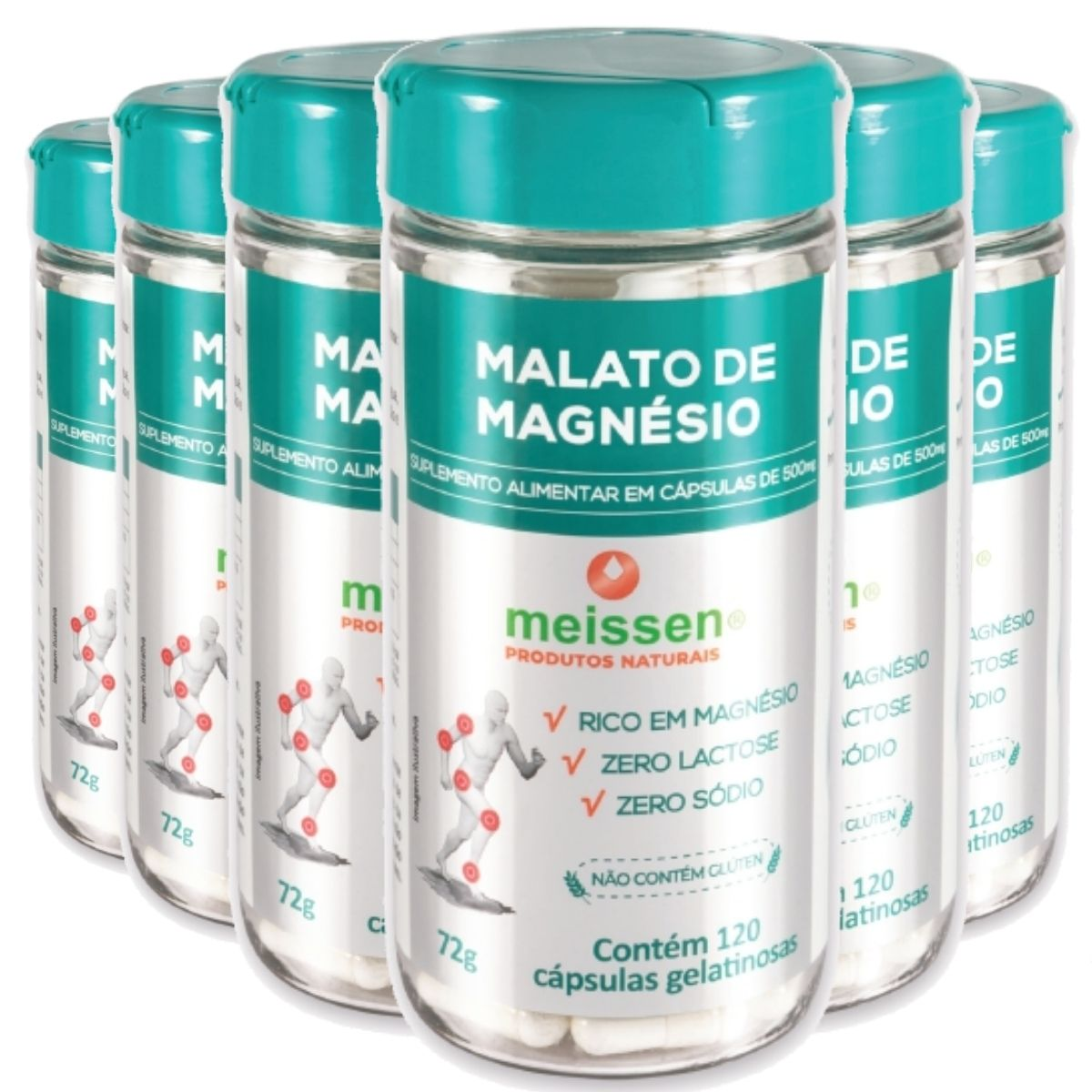 Kit 6 Malato de Magnésio (Magnésio Dimalato) Puro 120 Cápsulas Gelatina - Meissen