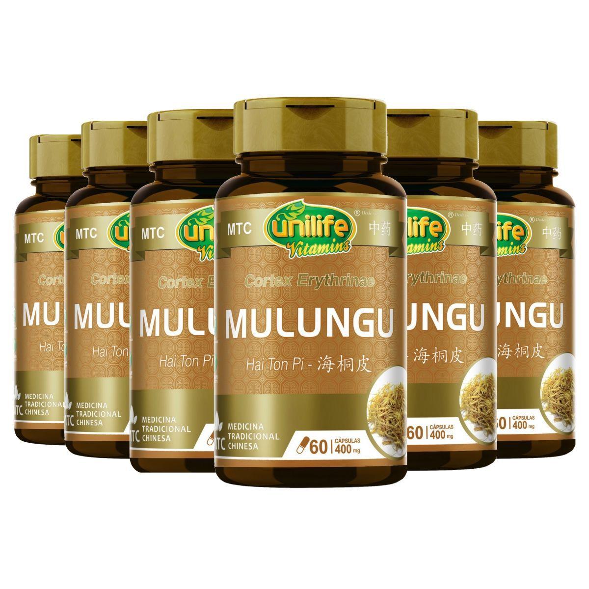 Kit 6 MTC Mulungu Puro Vegano 400mg 60 Cápsulas - Unilife