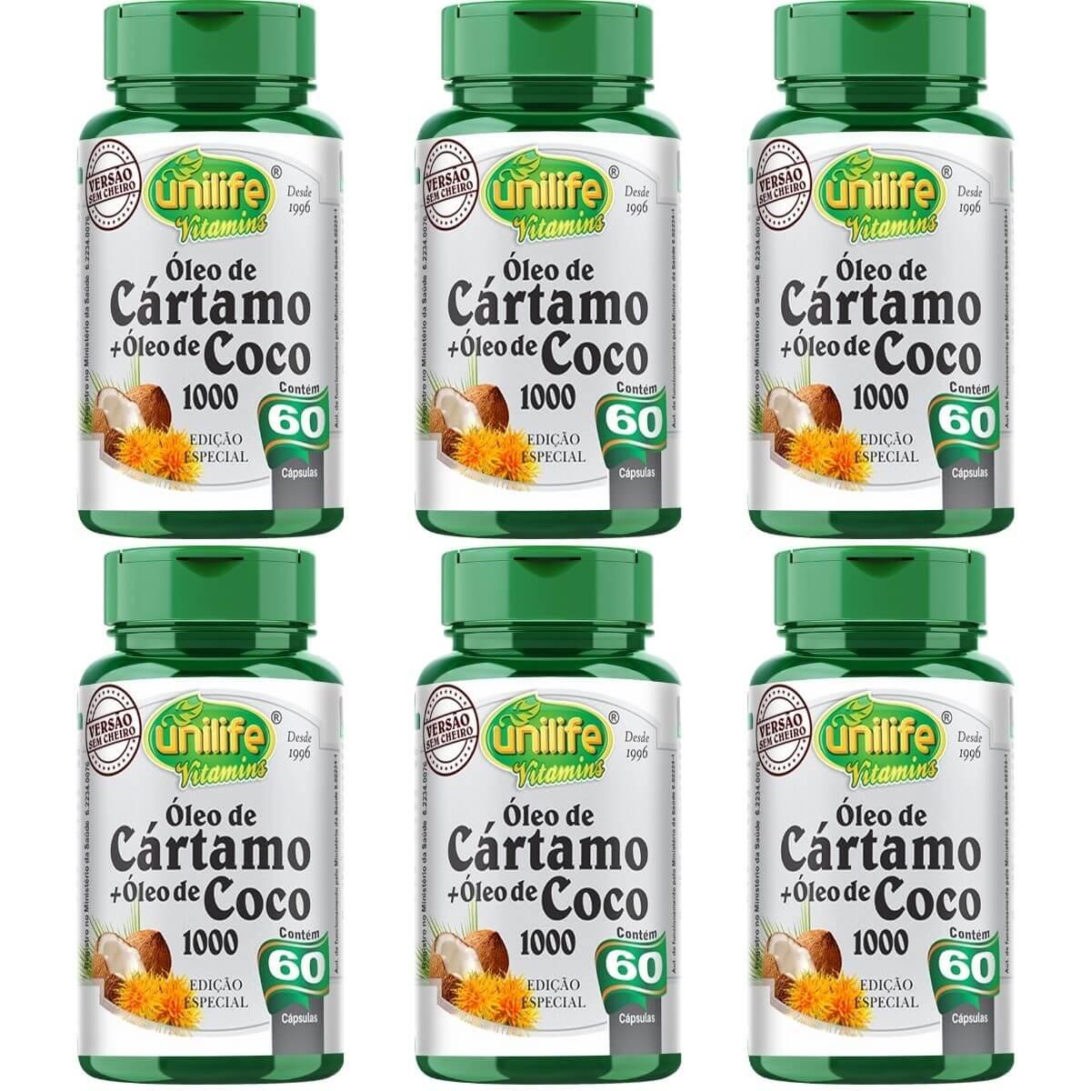 Kit 6 Óleo De Cártamo + Óleo De Coco Edição Especial 1200mg 60 Capsulas  - Unilife