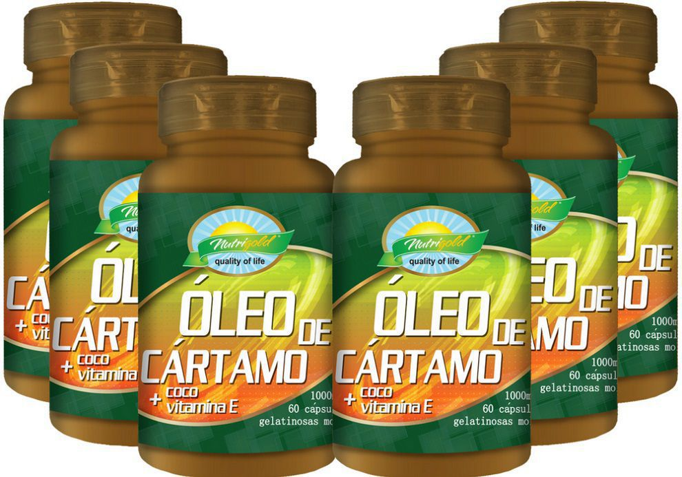 Kit 6 Óleo de Cartamo + Óleo de Coco + VItamina E - 1000mg 60 Cápsulas softgel