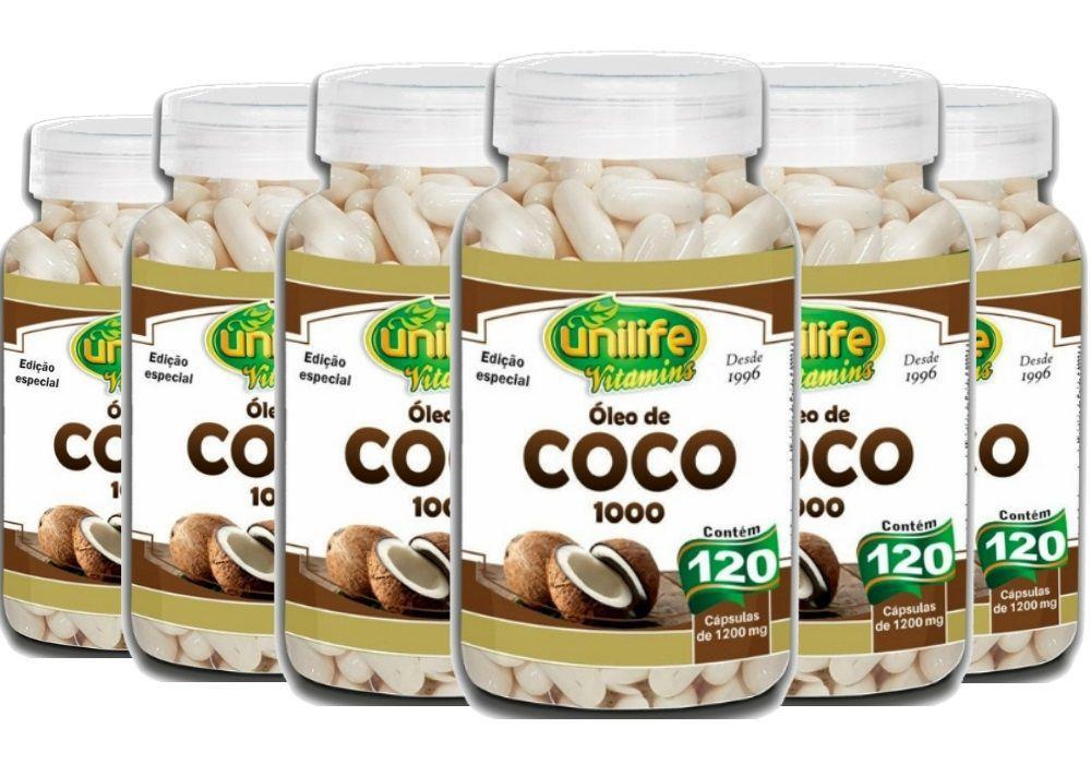 Kit 6 Óleo de Coco 1000 Edição Especial - 120 Cápsulas 1200mg - Unilife