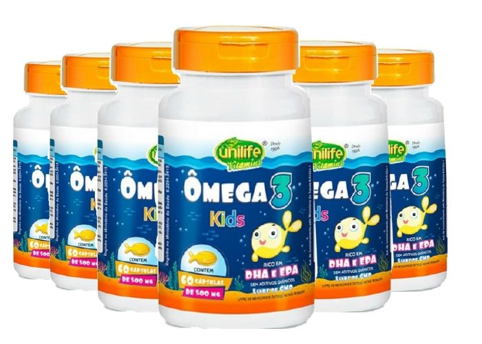 Kit 6 Ômega 3 Kids Unilife 60 Cápsulas 500mg