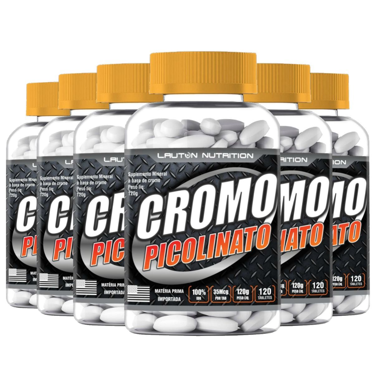 Kit 6 Picolinato de Cromo Lauton Nutrition - 120 Comp 1000mg