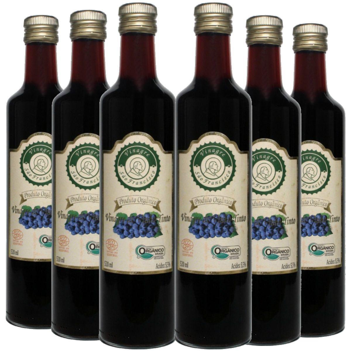Kit 6 Vinagre Orgânico São Francisco Vinho Tinto Acidez 5,5% - 500ml