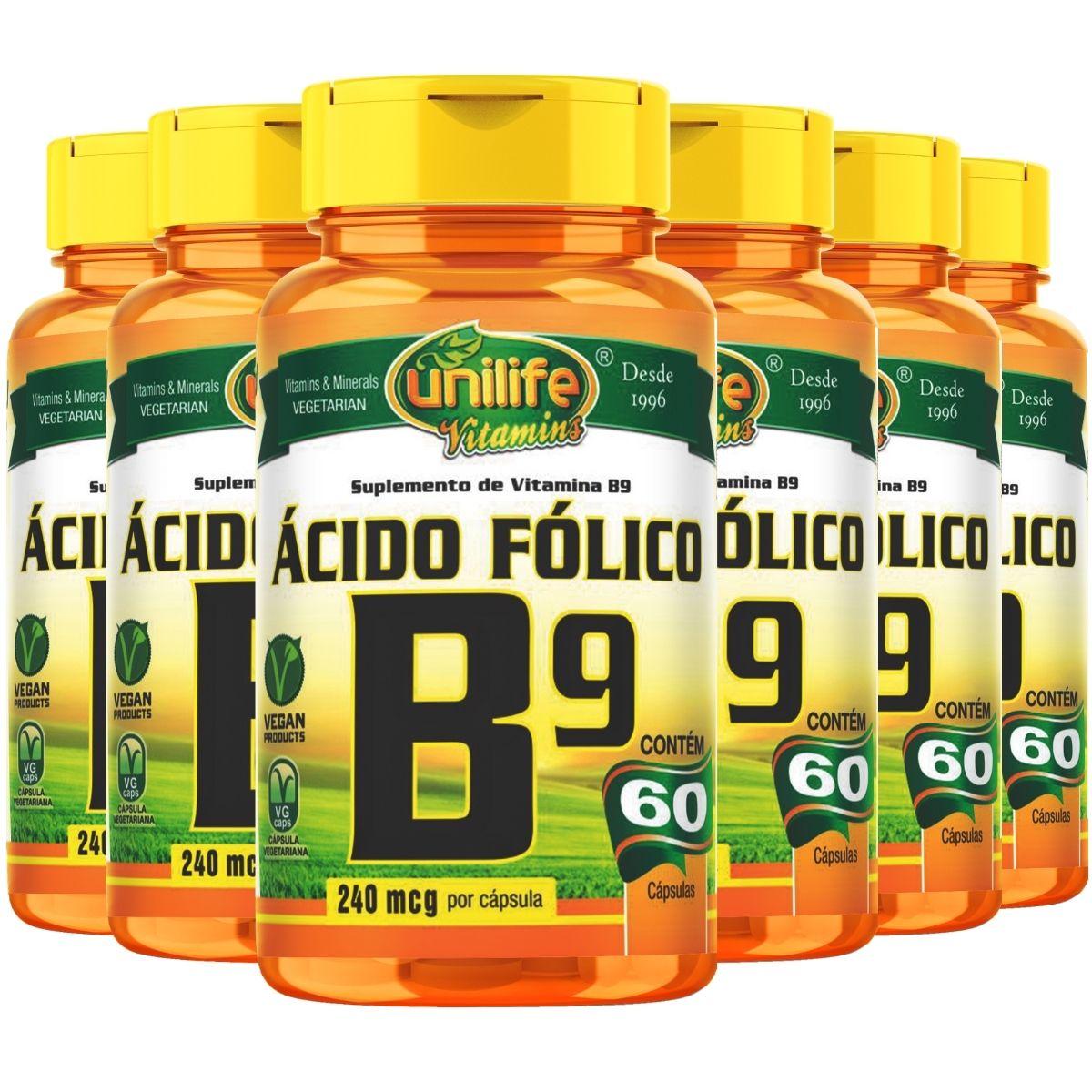Kit 6 Vitamina B9 Ácido Fólico 60 Cápsulas 500mg - Unilife