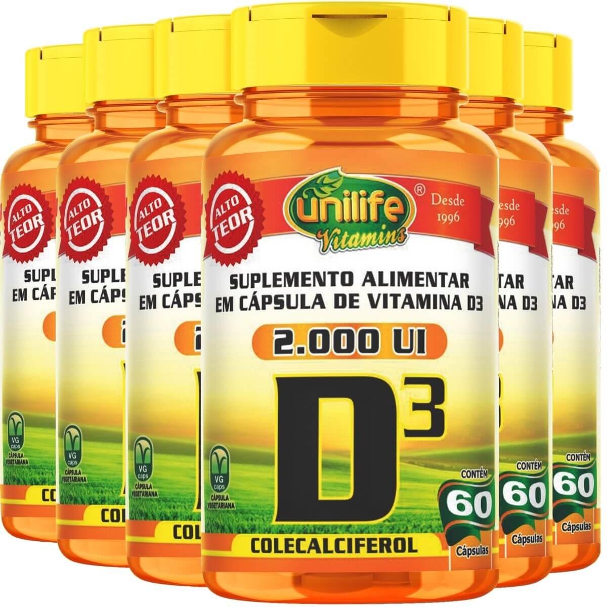 Kit 6 Vitamina D3 Colecalciferol 60 Cáps Unilife