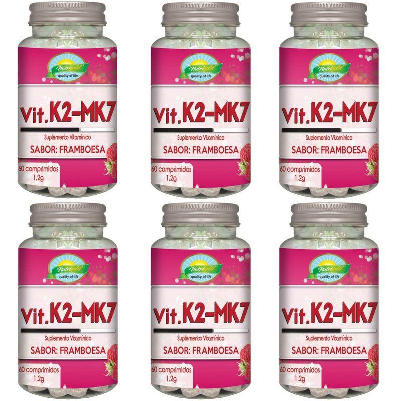 Kit 6 Vitamina K2 Menaquinona Mk7 60 Comp 1,2g Sabor Framboesa