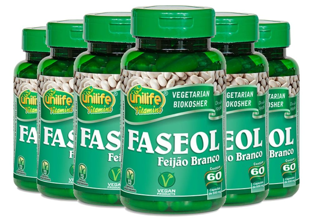 Kit 6x Faseol Feijão Branco Unilife - 60 Cápsulas 500mg