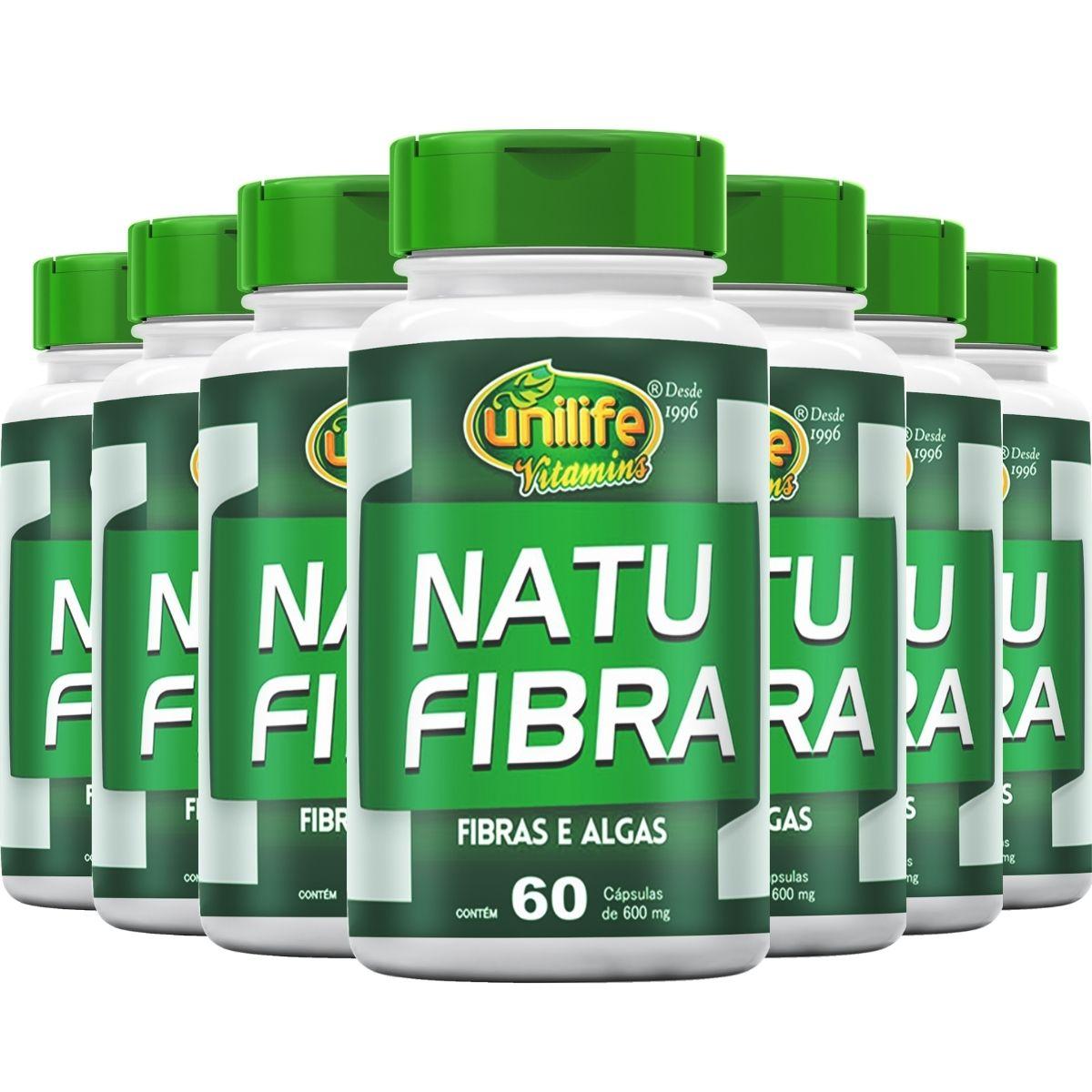 Kit 7 Natu Fibra Unilife Fibras e Algas - 600 Mg 60 cápsulas