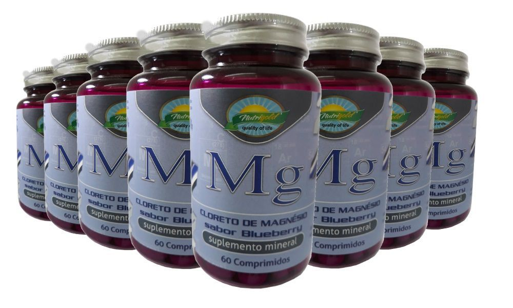 Kit 8 Cloreto de Magnésio Sabor Blueberry - 60 Comprimidos 1,2g