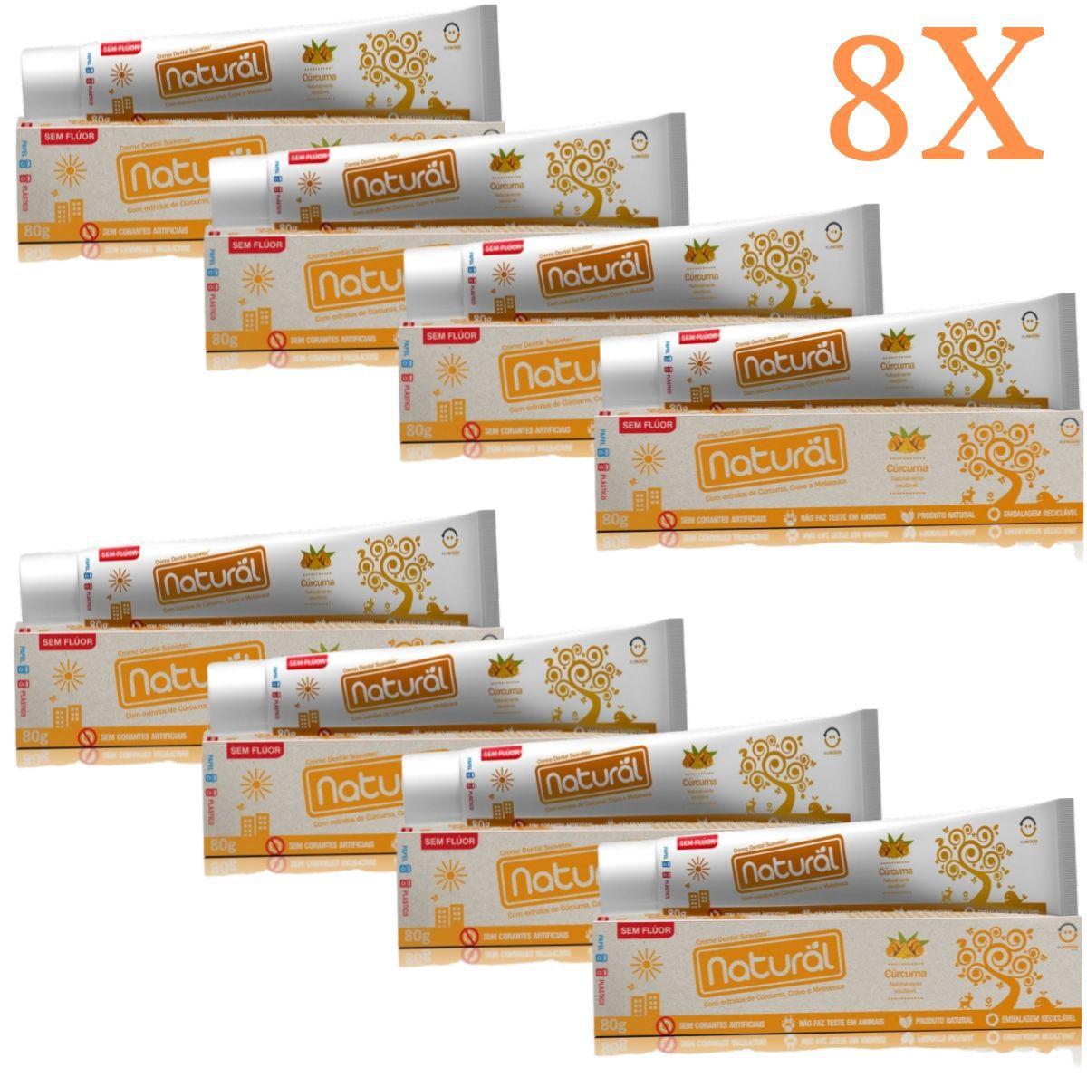 Kit 8 Creme Dental Suavetex Natural C/ Extratos de Curcuma, Cravo e Melaleuca 80g