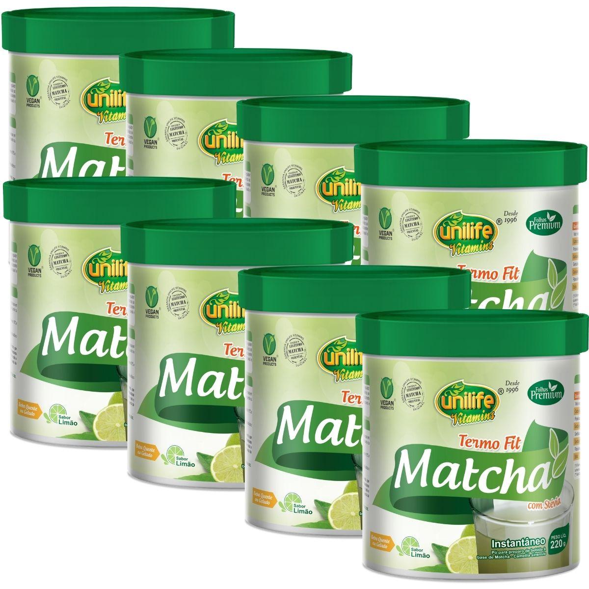 Kit 8 Matcha Instantâneo C/ Stévia Termo Fit Unilife - 220g Sabor: Limão