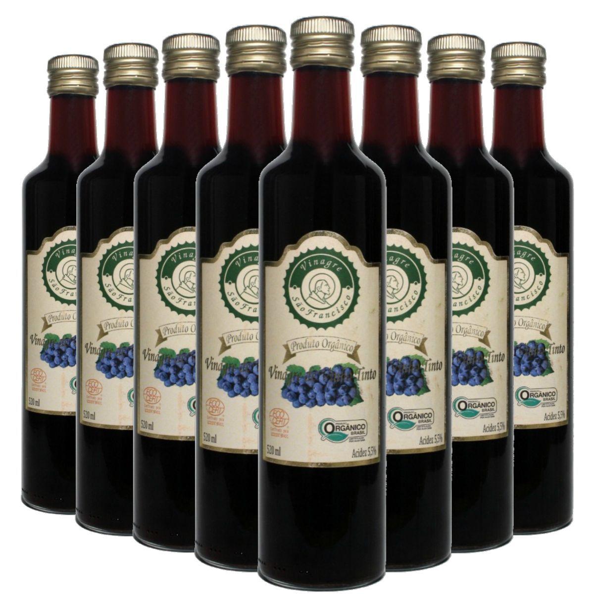 Kit 8 Vinagre Orgânico São Francisco Vinho Tinto Acidez 5,5% - 500ml