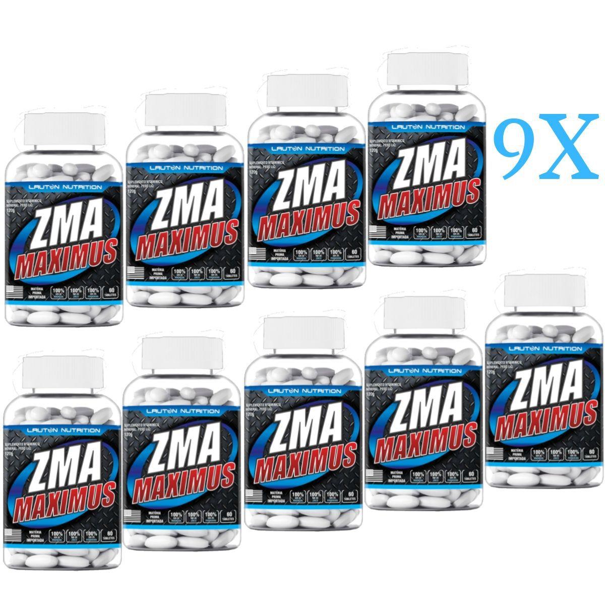 Kit 9 ZMA Maximus Lauton Nutrition - 60 Tablets 1G