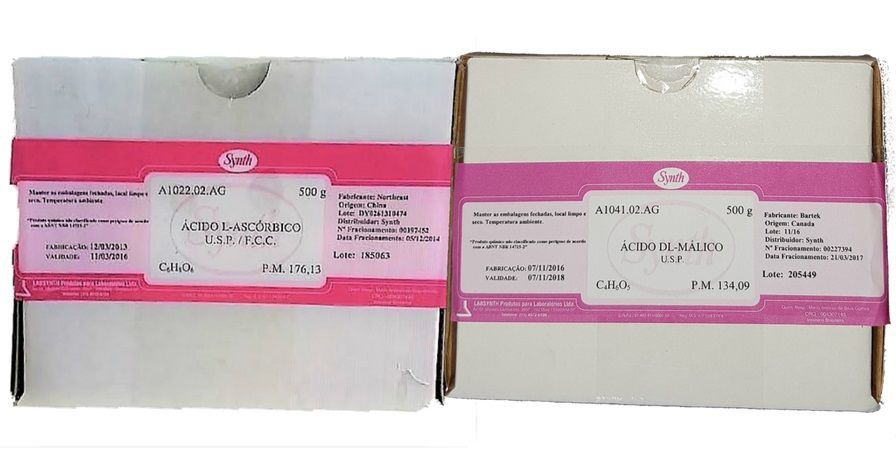 Kit Acido Ascorbico Usp 500g + Acido Malico Usp Synth 500g