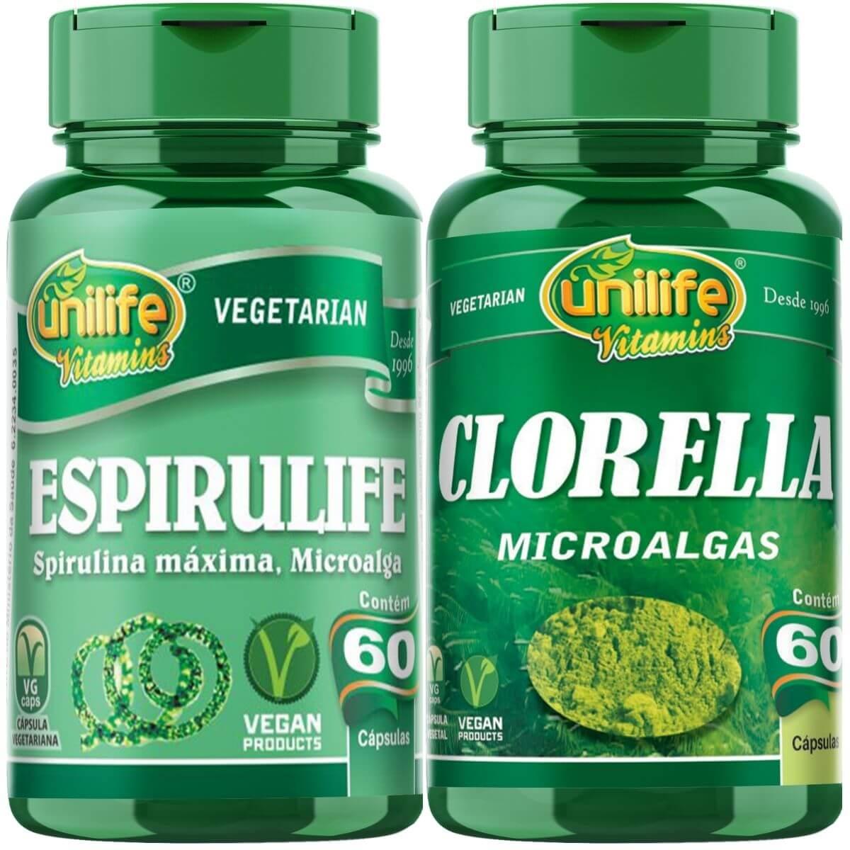 Kit Chlorella E Spirulina Unilife - 60 Cáps 500mg