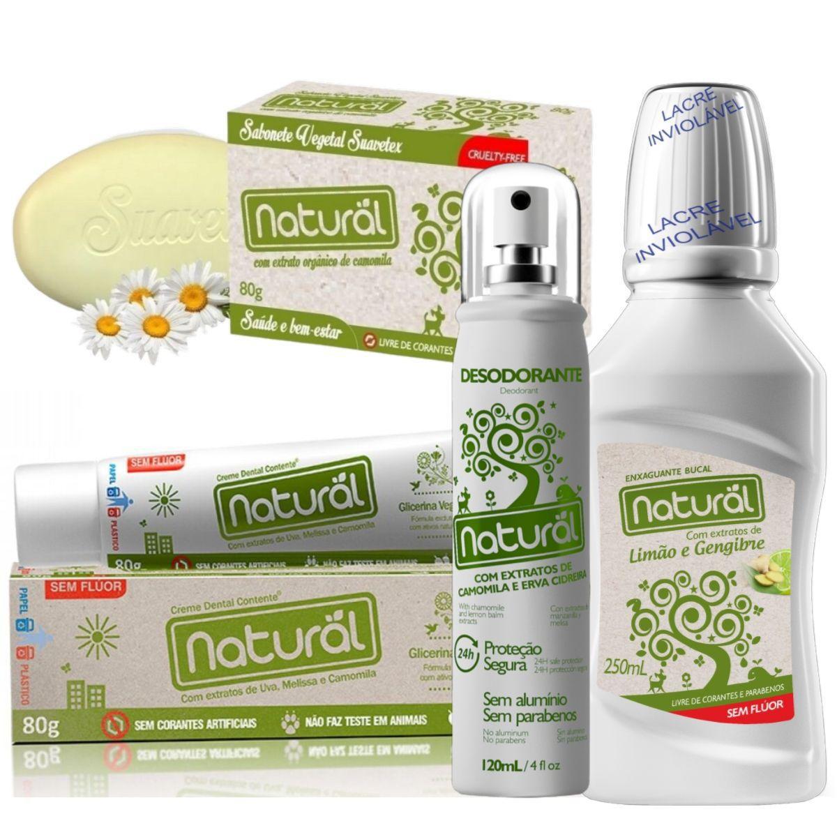 Kit Creme Dental 80g + Desodorante Spray 120ml + Enxaguante Bucal 250ml + Sabonete Orgânico de Camomila 80gr - Orgânico Natural