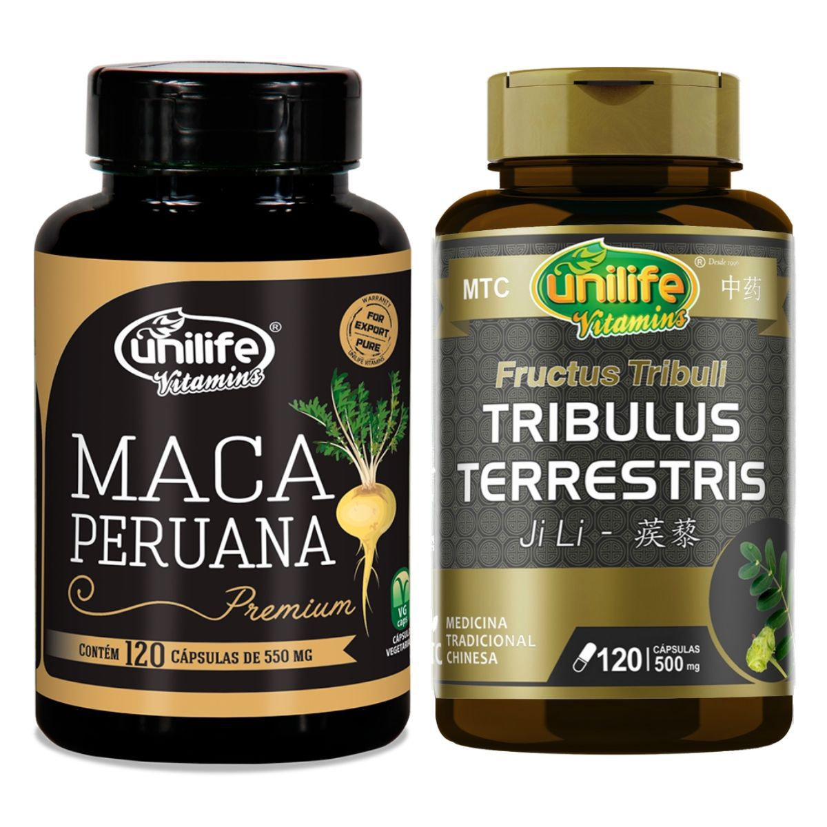 Kit Maca Peruana 550mg E Tribulus Terrestris 120 Cápsulas - Unilife