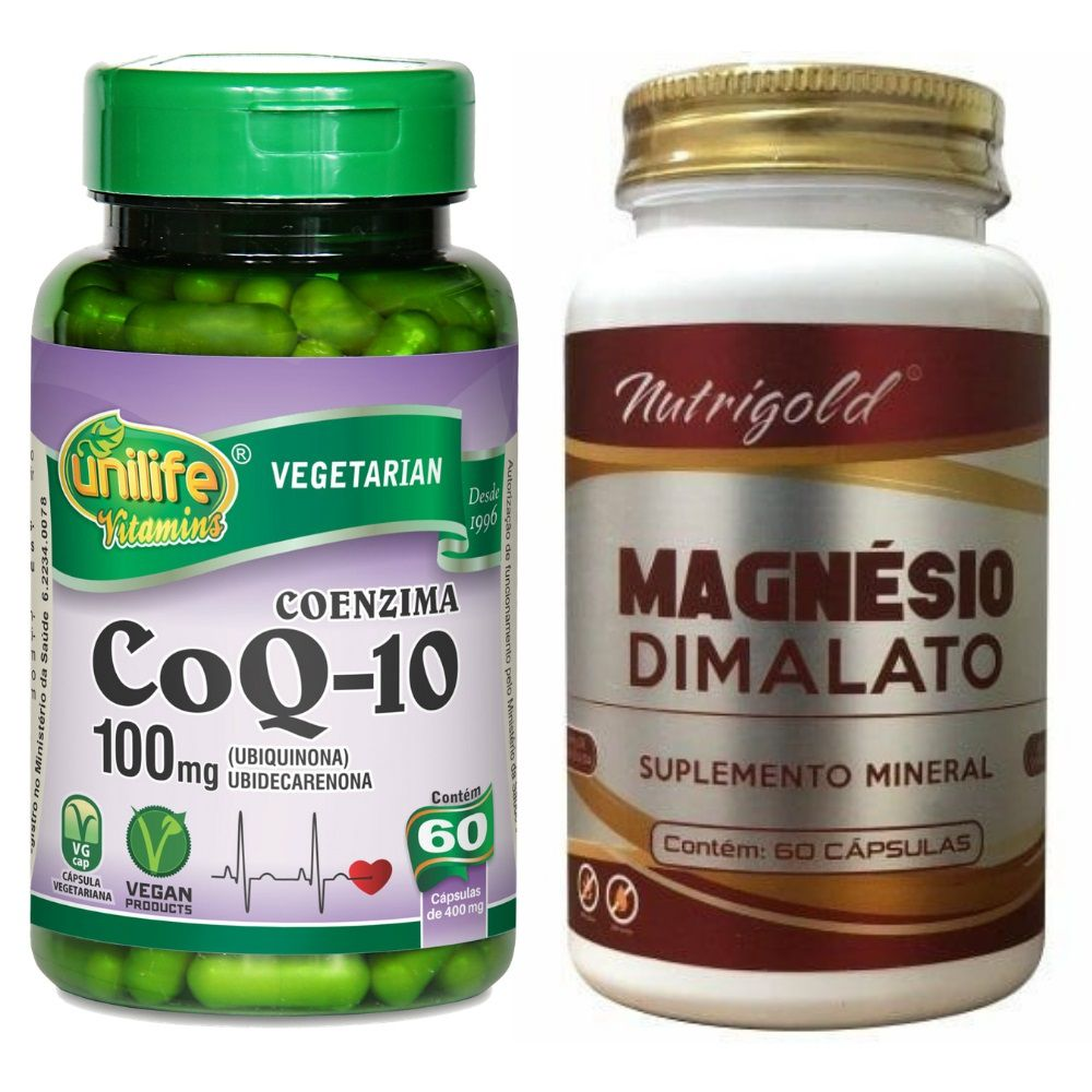 Kit Magnésio Dimalato 60 Cáps + Coenzima Q10 60 Cáps
