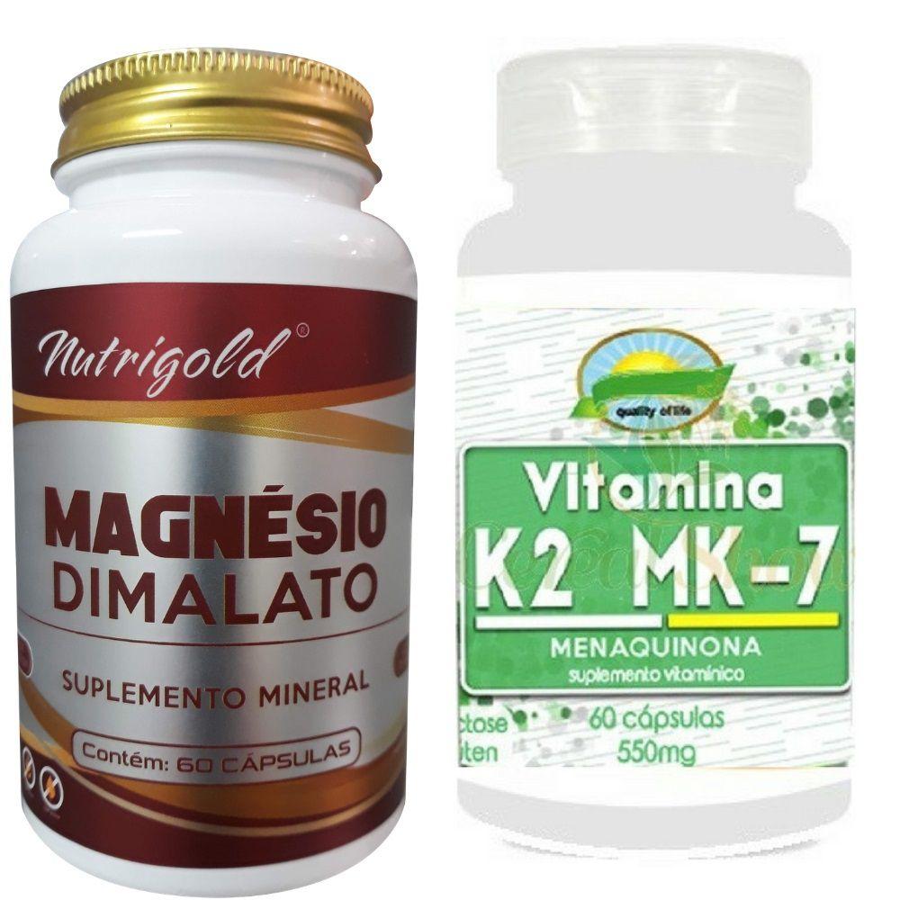 Kit Magnesio Dimalato 60 Caps + Vitamina K2 Menaquinona 60 Caps