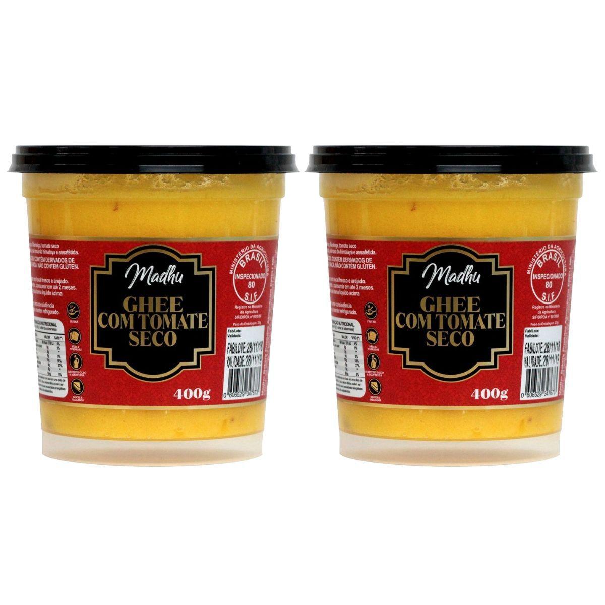 Kit 2 Manteigas Ghee C/ Tomate Seco Clarificada 400mg - Madhu Bakery